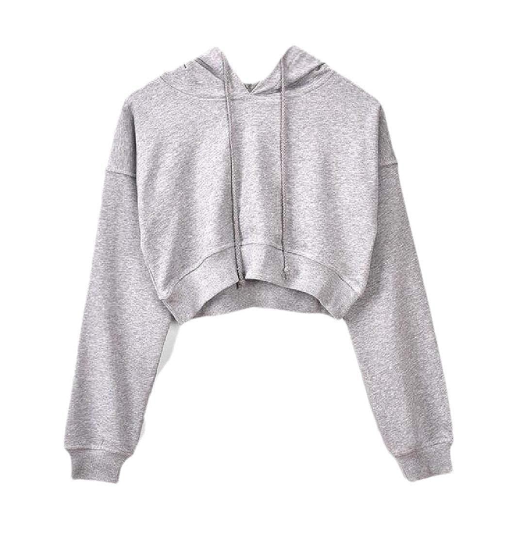 Macondoo Womens Drawstring Crop Top Long-Sleeve Hooded Pullover Sweatshirts