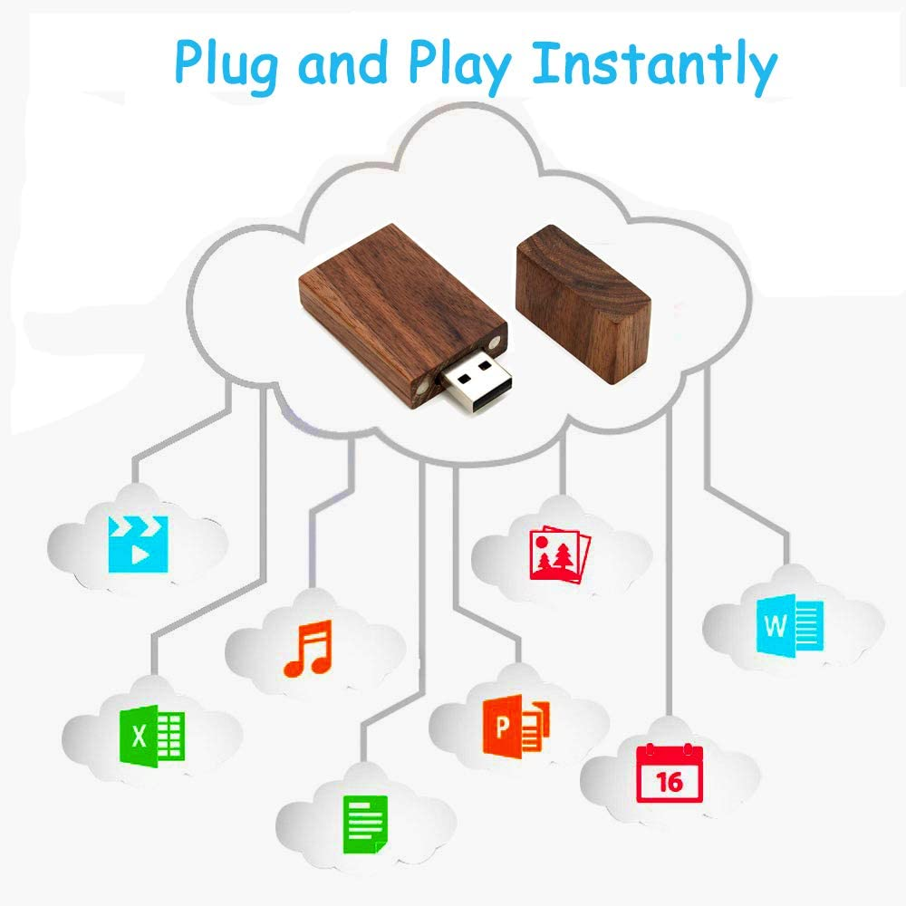 Wooden Flash Drive 64GB 1pcs-Brown EASTBULL USB 2.0 High Speed Walnut Wood USB Thumb Drives Memory Stick Pen Stick
