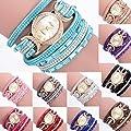 Jaylove Clearance Sale Vintage PU Leather Bracelet Women Ladies Diamond Circle Watch Student Fashion Table