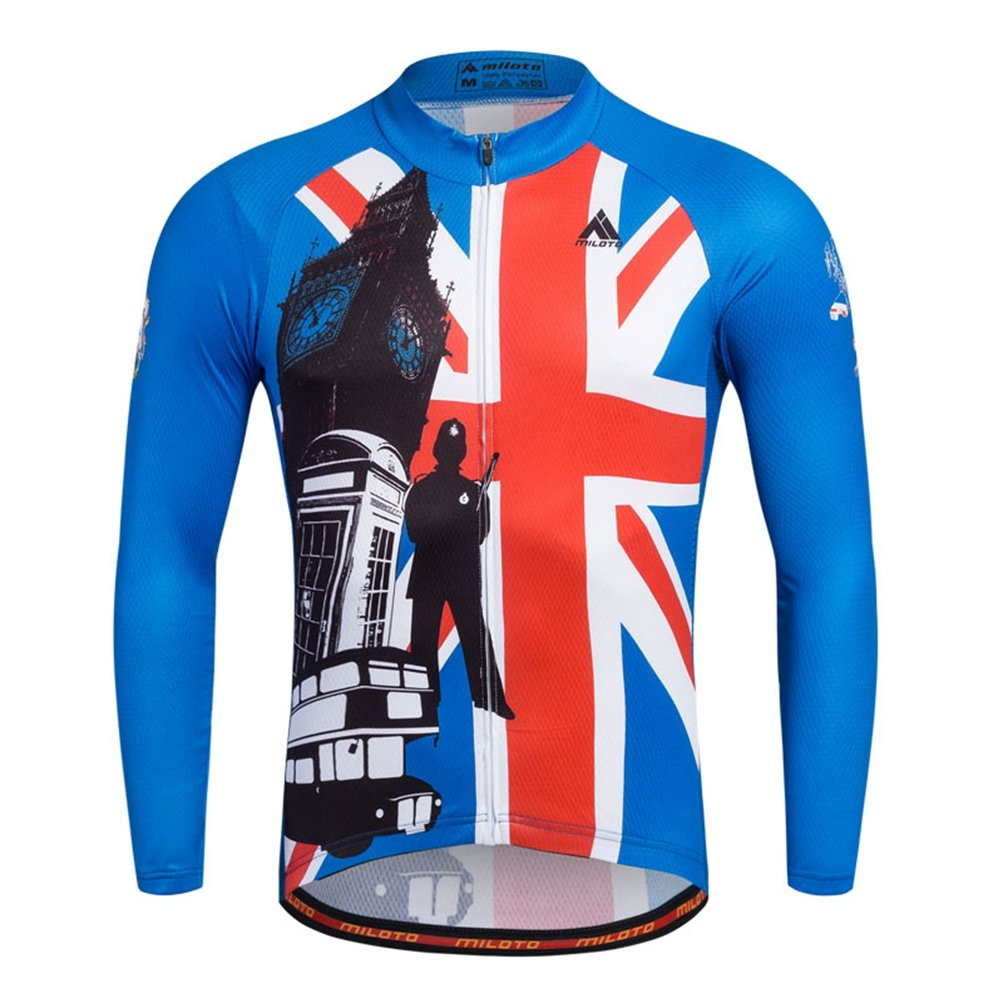 Uriah Men 's Cycling Jersey熱フリース長袖Reflective B074QMVRWQ Chest 38.5''=Tag M|England Style England Style Chest 38.5''=Tag M