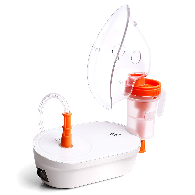 SIMBR Nebulizador Compresor, Inhalador Portátil Compacto con Boquilla y Mascarilla para Bebés y Adultos, para el Tratemiento de Enfermedades Respiratorias, Dispositivo Médico Certificado