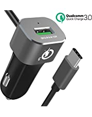 Type C Car Charger, BrexLink QC 3.0 Fast Car Charger Adapter with Type C Cable(1.2m),Quick Charge 3.0 Fast Car Charger fit Phone X 8 7 6s Plus,Samsung Galaxy S8 S9 S10 Plus Note 8 9, Google Pixel, LG