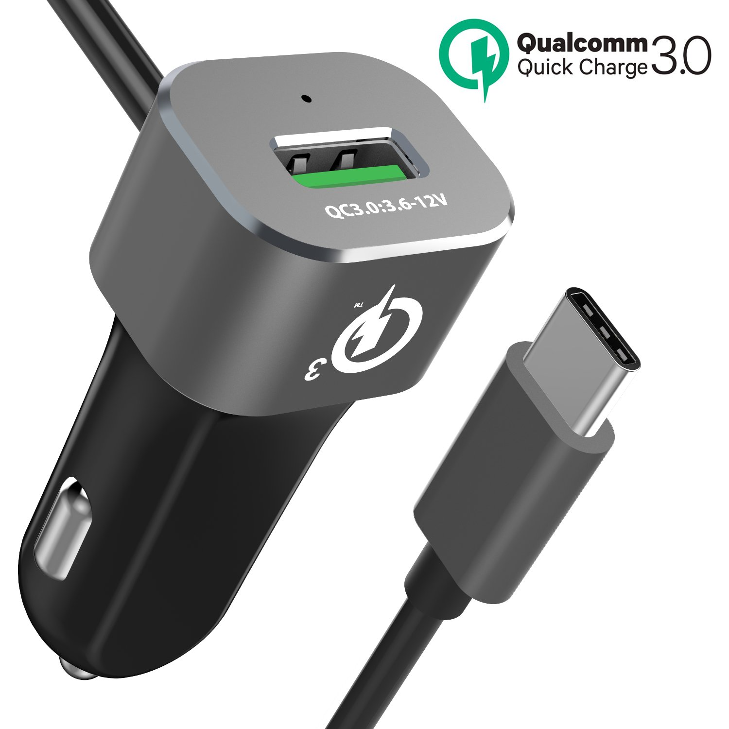 Car Charger, BrexLink Quick Charge 3.0 Car Charger Adapter W. Integrated Built-in USB-C Cable Compatible w. iPhone, Google Pixel, Nexus 6P 5X, Samsung Note 8 9 S8 S9 Plus, LG V30, OnePlus & More