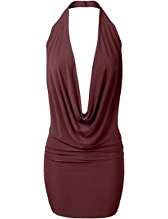 20d98cc5dd75eb Womens Lightweight Sexy Low Cut Halter Tunic Top with Stretch at ...