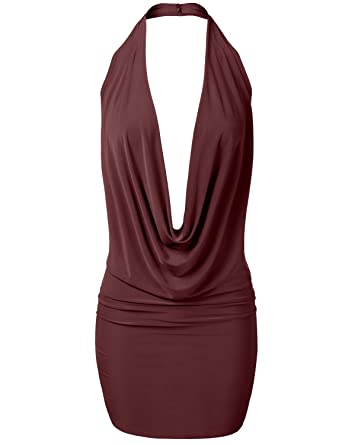 Luna Flower Women s Sexy Low Cut Halter Dress - Fitted Plunge Party Dress  Burgundy Small ( 4c9b40c04