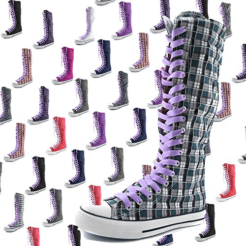 Dailyshoes Toile Femme Mi-mollet Bottes Hautes Casual Sneaker Punk Plat, Bottes Noires Lavande, Dentelle De Lavande