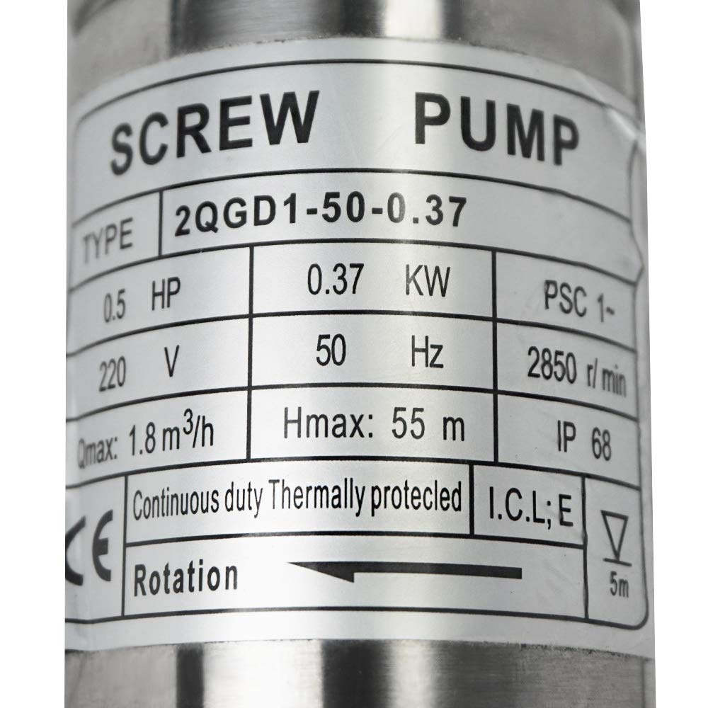 ECO LLC 240V 1/2 HP Stainless Steel 2'' Submersible Bore Pump Deep Well Pump for Farm Irrigation by ECO LLC (Image #7)