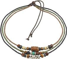 Ancient Tribe Unisex Adjustable Hemp Cords Wood Beads Beaded Surfer Choker Necklace