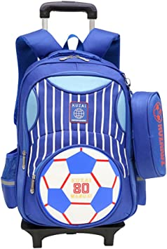 Blue stripes stars, 6 wheels Rolling Backpack Kids School Bags Trolley Luggage 18 Inch Oversized Load Multi-Compartment Wheeled for Girls Boys Travel