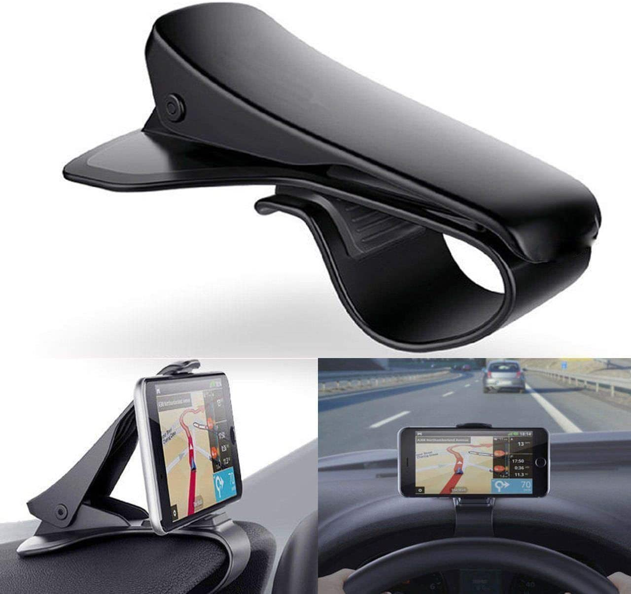DishyKooker Universal Clip On Car HUD GPS Dashboard Mount Cell Phone Holder Non-Slip Stand