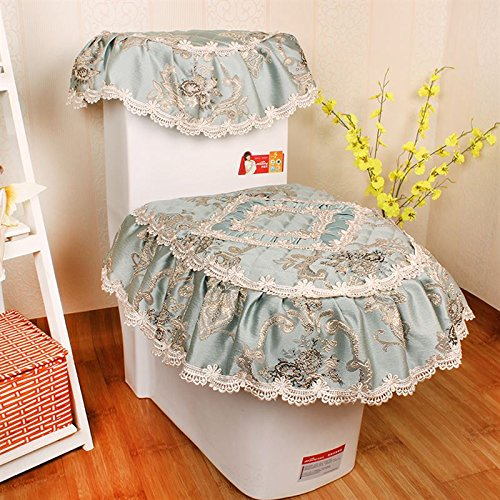 bluee HL-PYL Jinsirong Zipper Type Toilet Closet Seat Cover Sleeve Lace Three Piece Set bluee