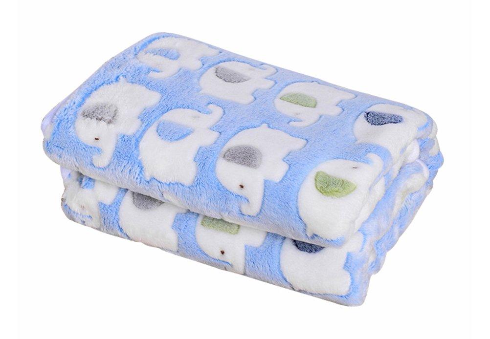 Freerun Pet Dog Cat Puppy Kitten Soft Blanket Warm Bed Mat Animal Figure Print Cushion - Blue Elephant, L
