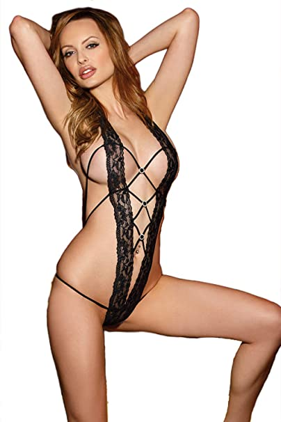 b5edd63c39fb Shirley of Hollywood Seductive Stretch Lace Band Teddy, One Size, Black