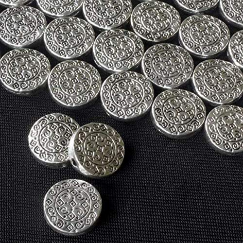 Cherry Blossom Beads Silver Pewter 12mm Coin Beads with Diamonds and Spirals - 8 inch Strand