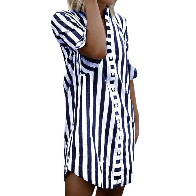 Blusa Mujer Verano,Moda Media Mangas Rayas Vertical Diario Casuales Suelto Camiseta Top (S