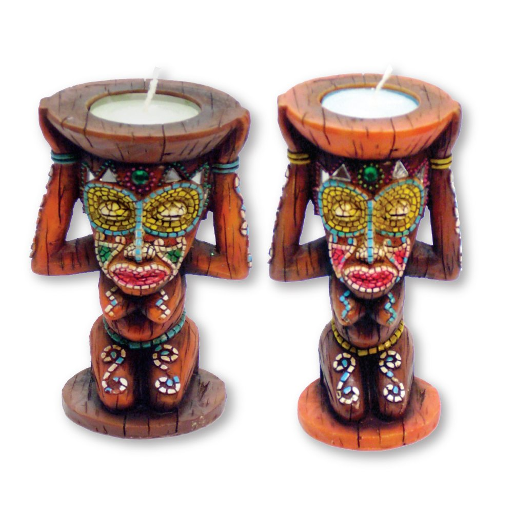 Rockin Gear Candle Holders Set of 2 - Mirror Accents Tiki Statue Figurines Hand Crafted - 4'' Tall