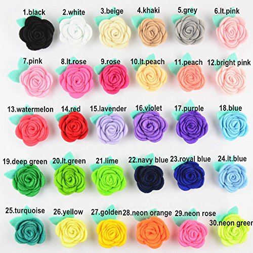 50PCS 1.6 Handmade Rose And Leaves Felt flowers For Kid's Headband DIY Crafts And Hair Clips KXM01