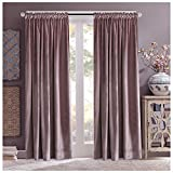 Sakura Pink Velvet Drapes Solid Room Darkening Rod Pocket Window Curtain Panel Pair Red Wine, 50″ x 96″ For Sale