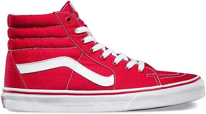 vans sk8 hi red white on feet