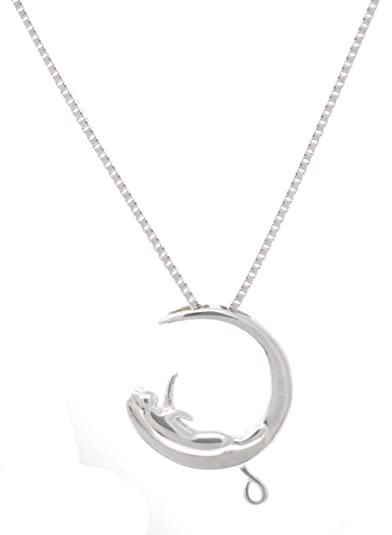 FOROLAV - Collar con colgante de gato en luna de plata de ley 925, 40 cm: Amazon.es: Joyería