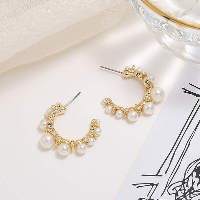 Amosfun 1 Pair Ear Jewelry Decor Pearl Earring Exaggerated C Shape Dangle Earrings Earbob Stud Earring Eardrop for Lady Women