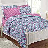 Purple and Teal Bedding 11 Piece Girls Hippie Comforter Full Set, Multi Floral Bohemian Bedding, Teal Blue Purple Pink Floral Prints, Indie Inspired Hippy Spirit, Damask Flowers, Geometric Accents, Beautiful Pattern, Vibrant