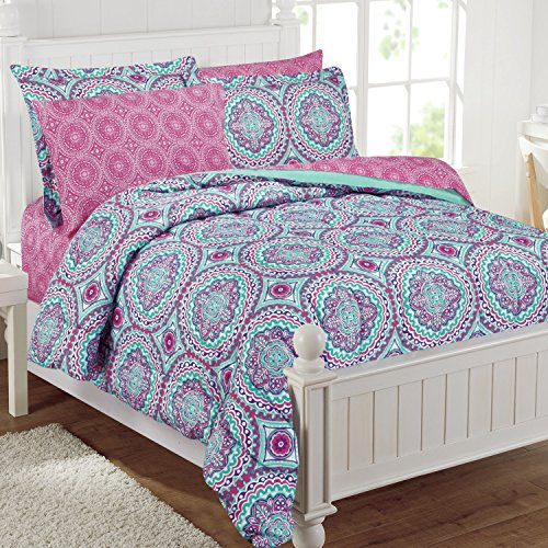 11 Piece Girls Hippie Comforter Full Set, Multi Floral Bo...