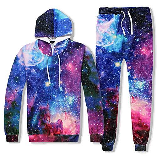Galaxy Suit - Ancia Men Women 3D Space Galaxy Starry Sky Sweatpants Pants Suit(Blue Galaxy,M)