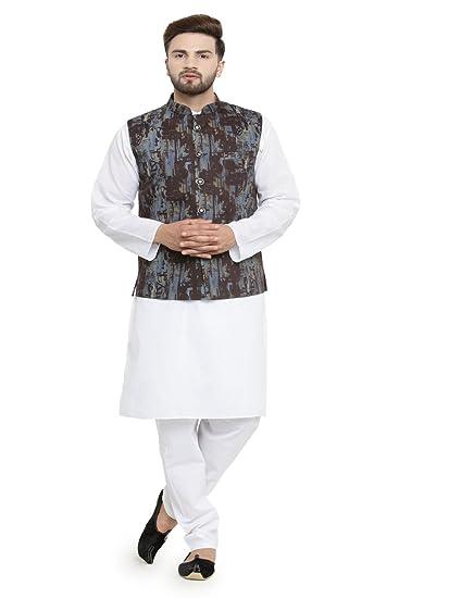 55e4dc91e9 Luxurazi Men s Cotton pathan Suit Kurta Pyjama with Waist Coat  (18-kurtajacketset White 44-Regular