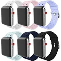 6-Pack Bmbmpt 38mm 40mm Soft Woven Silicone Replacement Band for Apple Watch Series 4 Series 3 Series 2 Series 1
