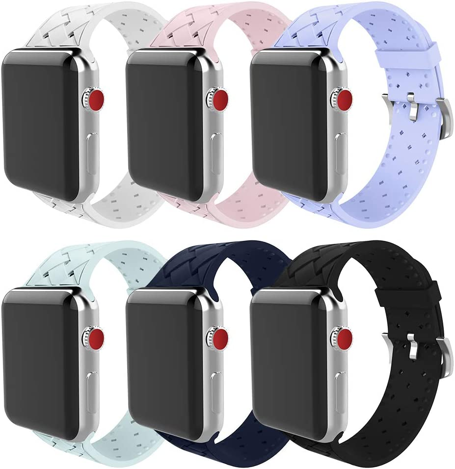 BMBMPT Compatible with Apple Watch Band 42mm 44mm Soft Woven Silicone Replacement Band for Apple Watch Series 4 Series 3 Series 2 Series 1 6 Pack
