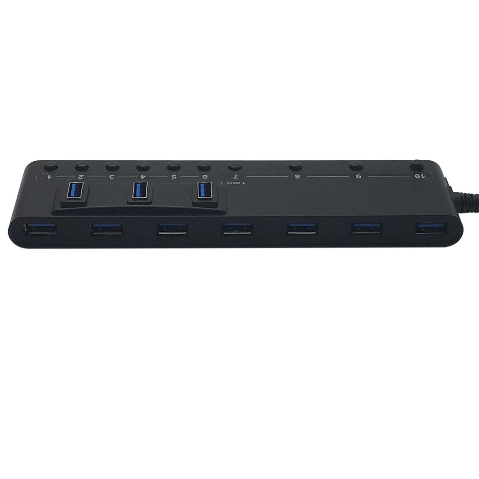 HornetTek 10-Port USB 3.0 Hub 5 Gbps Max with Individual On / Off Switches