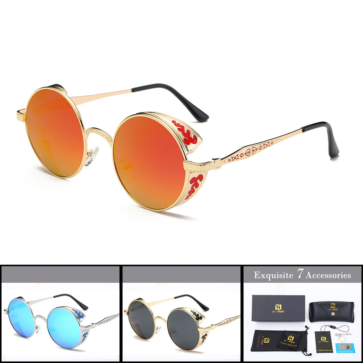 1030e5a9f487 SZ·LINGKE Polarized Unisex Oversized Vintage Round SunGlasses For Men Women Driving  Cycle Big Metal