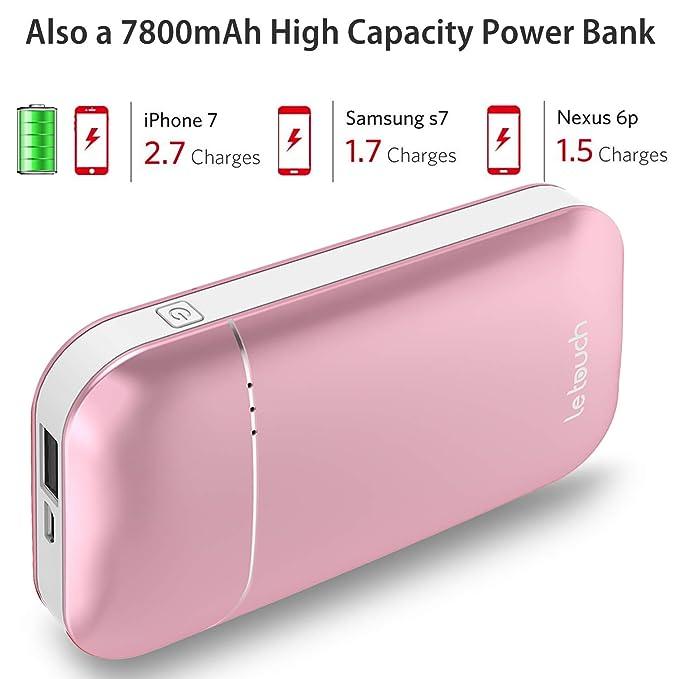 Letouch batería calentador de manos 7800mAh Banco de la energía, calefacción eléctrica calentador de manos reutilizables, a doble cara portátil USB Batería ...