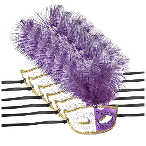 Masquerade Masks – 6-Pack Venetian Ball Party Face Masks for Carnival, Carnaval, Mardi Gras, Fancy Dress Halloween, Cosplay Events, Purple and White - 11.5 x 7 x 3.5 (Venetian Carnival Mardi Gras Mask)