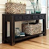 Beautifully Designed Rectangular Black Sofa Table, Ultra Distressed, Perfect Scaled & Loaded with Bold Casual Appeal, Four Framed Drawers Keep Things Tidy & Feature Dark Bronze Finished Knobs, Wood