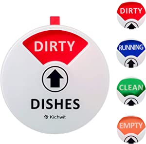 Kichwit Dishwasher Magnet Clean Dirty Sign Indicator with Running and Empty Options, Works on All Dishwashers, Non-Scratch Strong Magnetic Backing, Residue Free Adhesive Included, 4 Inch, White