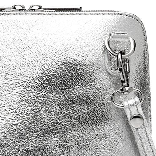 CASPAR TL778 kleine elegante Damen Umhängetasche / Clutch aus Leder Silber