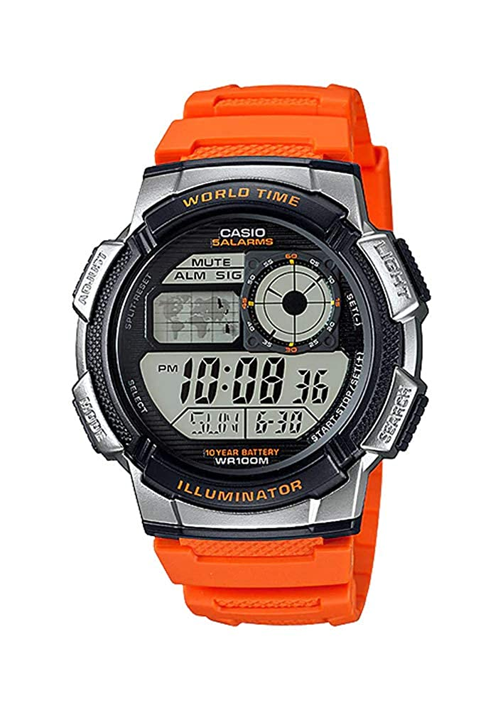 Amazon.com: Casio AE1000W-4BV Mens Orange Resin Band 5 ...