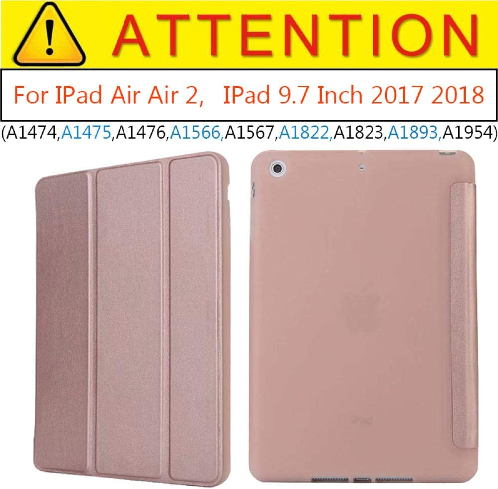 Estuche de imán para iPad Air 2 Air 1 Estuche de 9.7 Pulgadas 2017 Funda de Silicona Soft Back Folio PU Funda de Cuero Smart Cover para iPad 2018 6th-Oro Rosa: Amazon.es: Informática