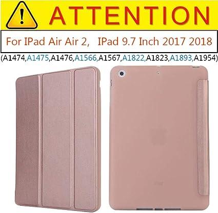 Estuche de imán para iPad Air 2 Air 1 Estuche de 9.7 Pulgadas 2017 Funda de Silicona Soft Back Folio PU Funda de Cuero Smart Cover para iPad 2018 6th-Oro Rosa: Amazon.es: Informática