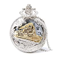 Profusion Circle Retro Hollow Steam Train Antique Style Quartz Pocket Watch Necklace Gift