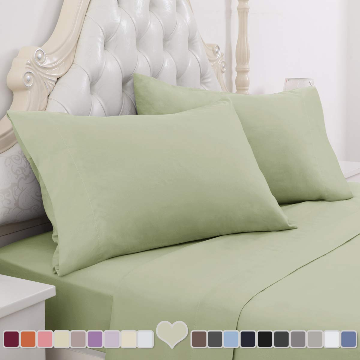HOMEIDEAS 4 Piece Bed Sheet Set (King, Sage Green) 100% Brushed Microfiber 1800 Bedding Sheets - Deep Pockets, Hypoallergenic, Wrinkle & Fade Resistant