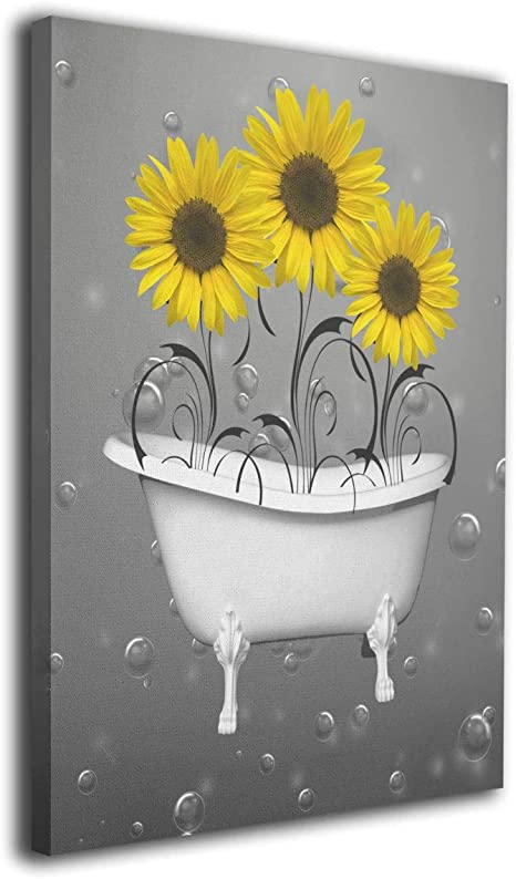 Amazon Com Ale Art Yellow Grey Sunflowers In Bathtub Bubbles Wall Art For Living Room Bedroom Canvas Wall Art Decor Framed Canvas Artworks Prints Giclee Ready To Hang For Home Decoration 16 X20 Posters