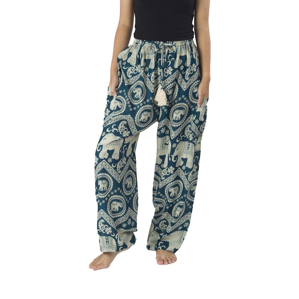 Teal Lannaclothesdesign Women's Elephant Hippie Boho Yoga Harem Pants