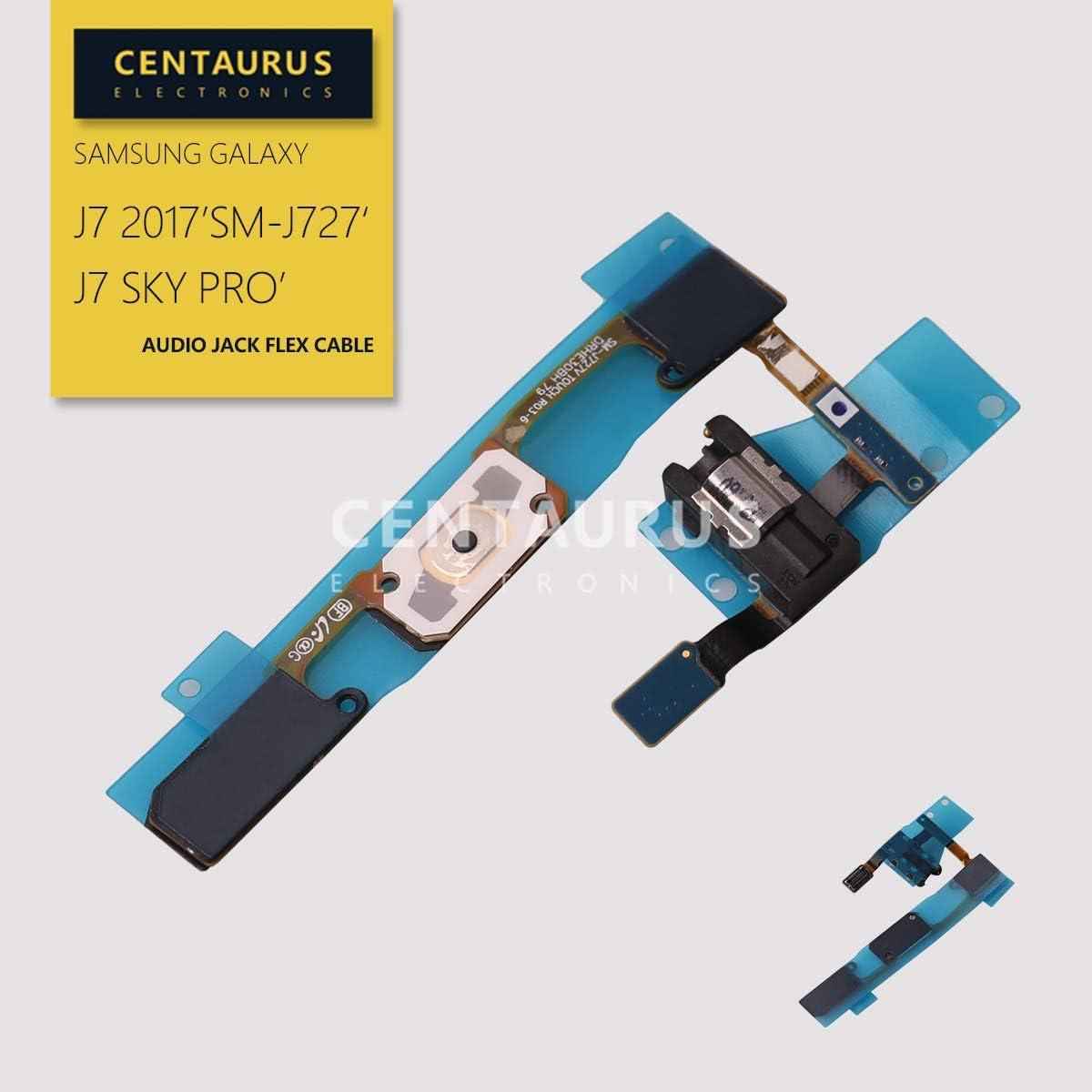 CENTAURUS Replacement for Samsung J727 Home Button Keypad Key Sensor Button Headphone Audio Jack Flex Cable fit Galaxy J7 2017 Prime J727 J727V J727T J727T1 J727A J727P Sky Pro S727VL S737TL