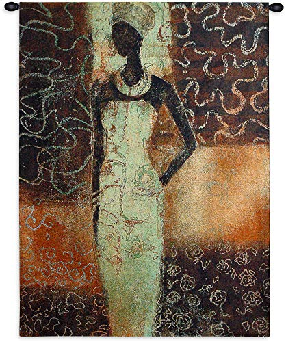 Radiance Ii by Gosia Gajewska | Woven Tapestry Wall Art Hanging | African Cultural Woman Pose Earthy Tones Africa Ethnic Art | 100% Cotton USA 52X39 ()