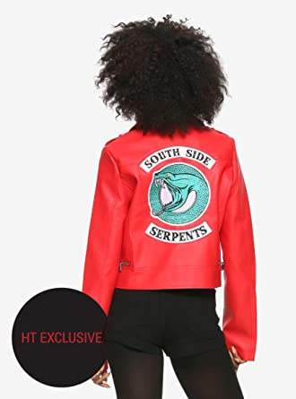 05f3594f02db1 Image Unavailable. Image not available for. Color  Hot Topic Riverdale  Cheryl Southside Serpents Faux Leather Red Girls Jacket Exclusive