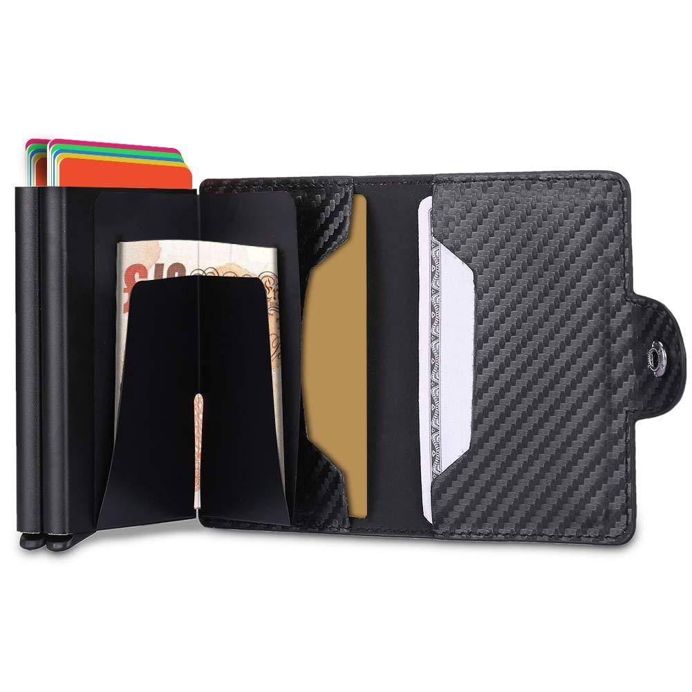 Porta Carta di Credito,Portafogli Multifunzionale in Pelle RFID in Alluminio, Portafoglio da Viaggio Slim Mini (Nero di carbonio-1 scatola) 8-uk