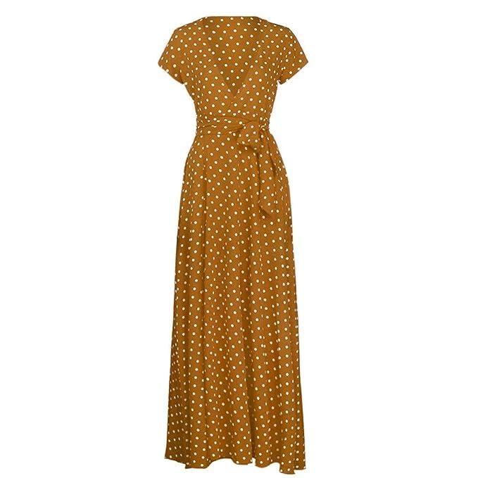 fa76ffa87613 Naladoo Women Deep V Maxi Dress Lace up Chiffon Sundress Cocktail Party Dresses  Coffee